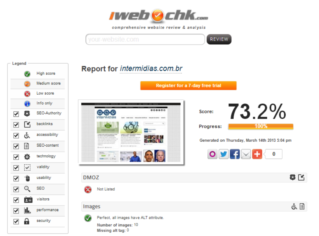 Propaganda, Digital e Ferramentas Free para Avaliação de Sites (Otimização de Sites (SEO) )